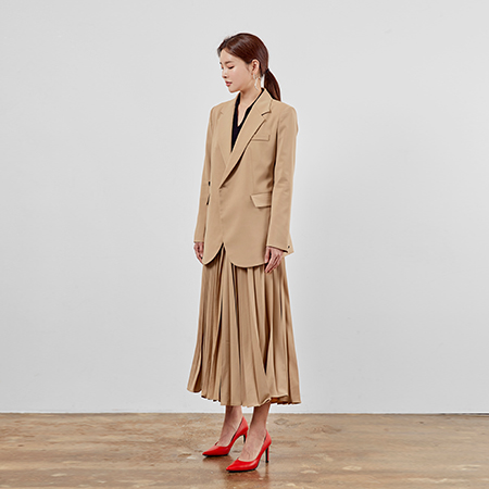 [feminine pleated skirt suit(2 colors)]